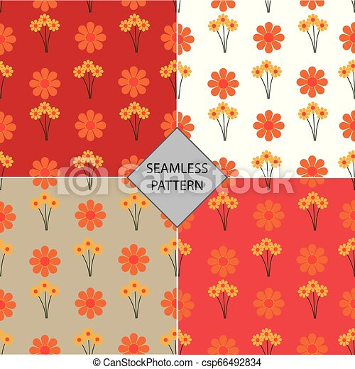 vector illustration of seamless pattern with a flower background - csp66492834