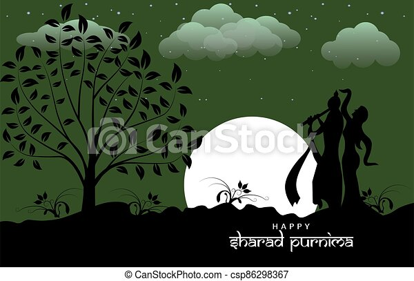 Vector Illustration of Sharad Purnima which is a harvest festival celebrated on the full moon day - csp86298367