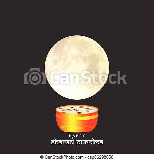Vector Illustration of Sharad Purnima which is a harvest festival celebrated on the full moon day. - csp86298056