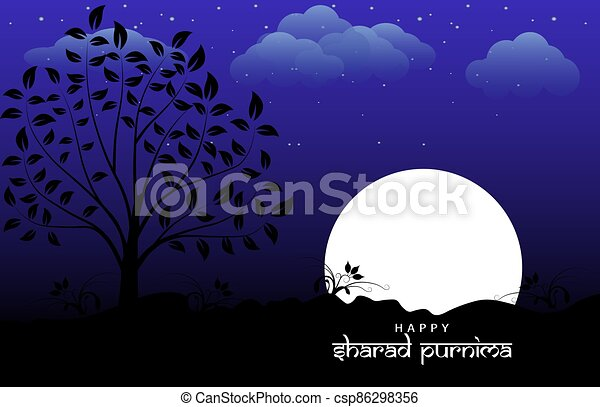 Vector Illustration of Sharad Purnima which is a harvest festival celebrated on the full moon day - csp86298356