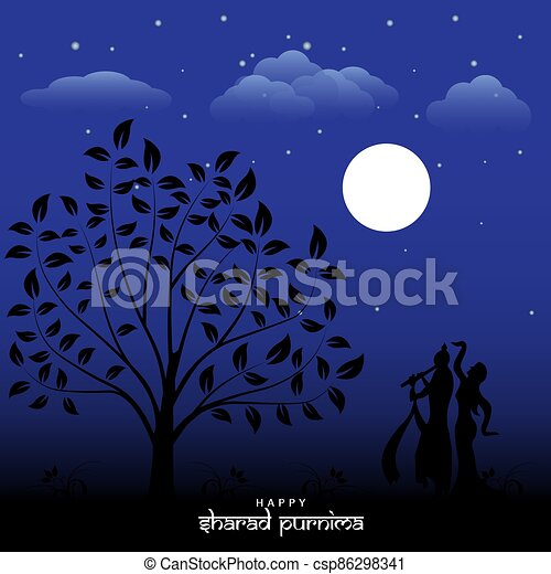 Vector Illustration of Sharad Purnima which is a harvest festival celebrated on the full moon day - csp86298341