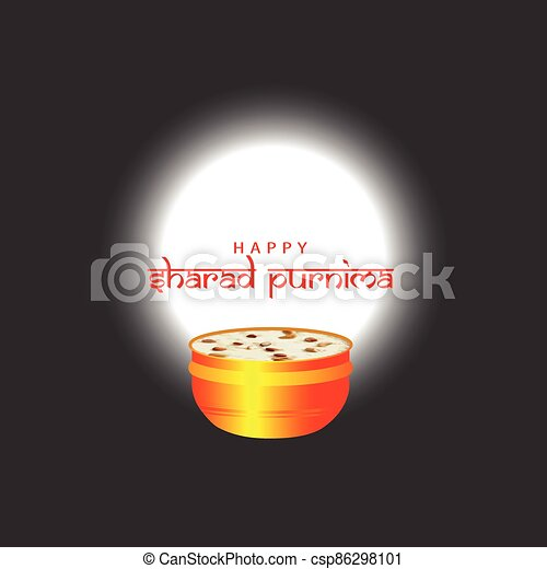 Vector Illustration of Sharad Purnima which is a harvest festival celebrated on the full moon day. - csp86298101