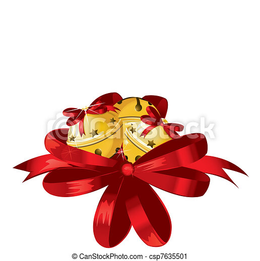 Vector illustration of shiny golden Christmas bells decorated with red bow  - csp7635501
