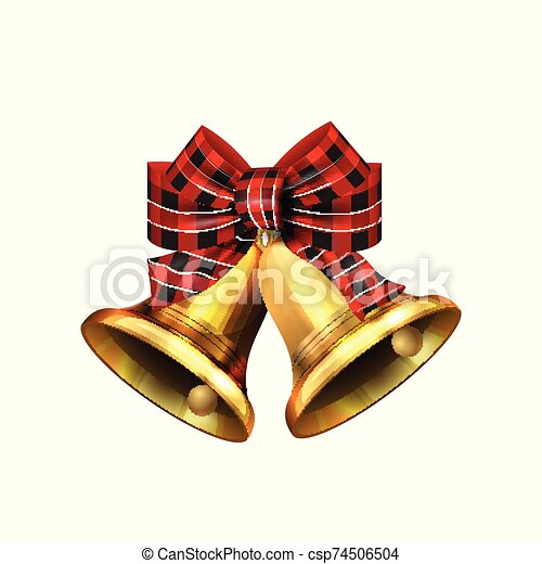 Vector illustration of shiny golden Christmas bells decorated with red bow - csp74506504