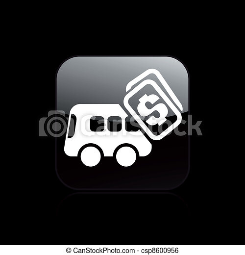 Vector illustration of single isolated bus pay icon - csp8600956