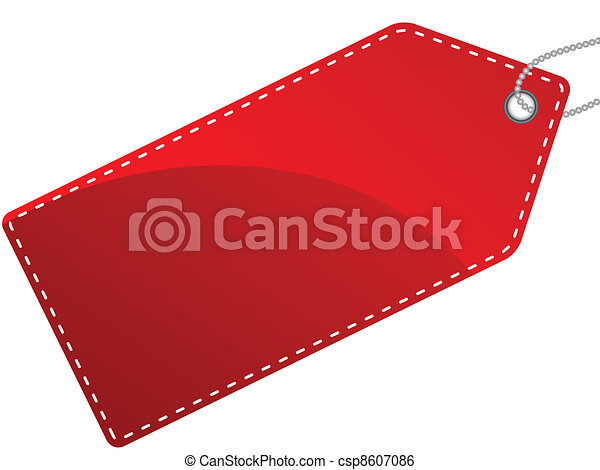 Vector illustration of single isolated red label tag - csp8607086