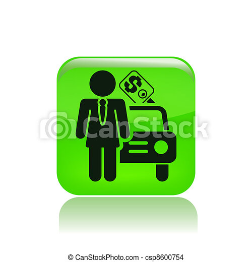 Vector illustration of single isolated girl car seller icon - csp8600754