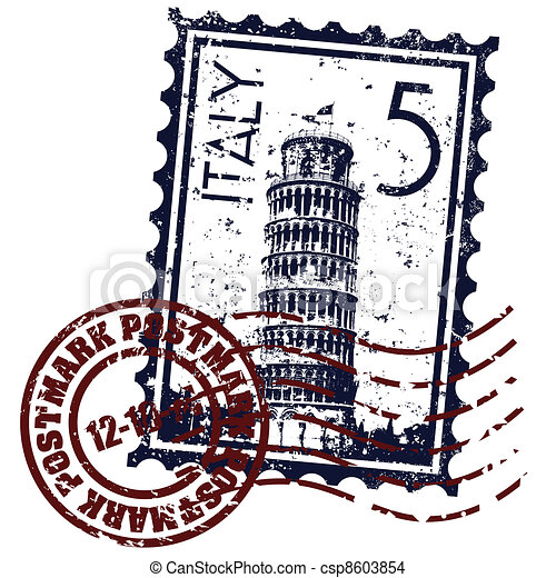 Vector illustration of single isolated Italy stamp icon  - csp8603854