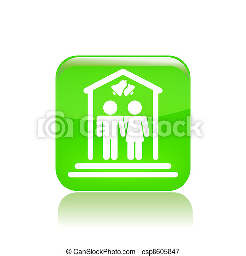 Vector illustration of single isolated marriage ceremony icon - csp8605847