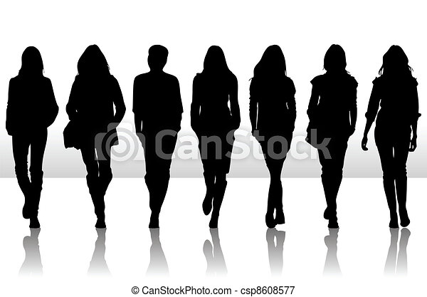 Vector illustration of single isolated girls set silhouette icon - csp8608577