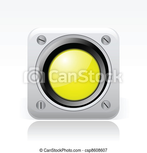 Vector illustration of single isolated yellow traffic light icon - csp8608607