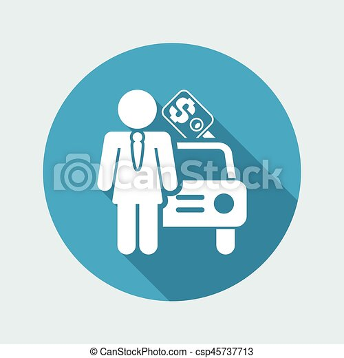 Vector illustration of single isolated girl car seller icon - csp45737713