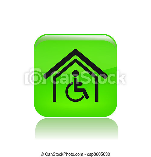 Vector illustration of single isolated handicap home icon - csp8605630