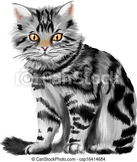 Vector illustration of sitting tabby kitten. Tabby Cat Cartoon Drawing