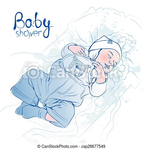 Vector illustration of sleeping bab - csp28677549