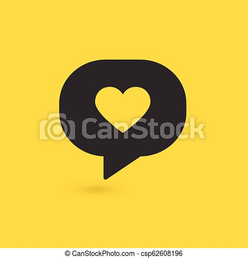 Vector illustration of speech bubble icon with heart. vector illustration. - csp62608196