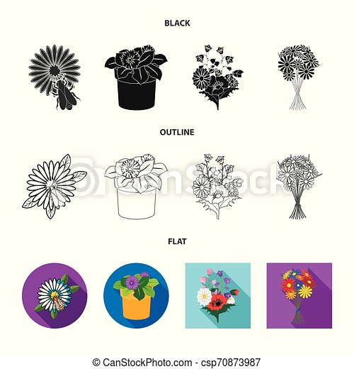 Vector illustration of spring and wreath logo. Set of spring and blossom stock vector illustration. - csp70873987
