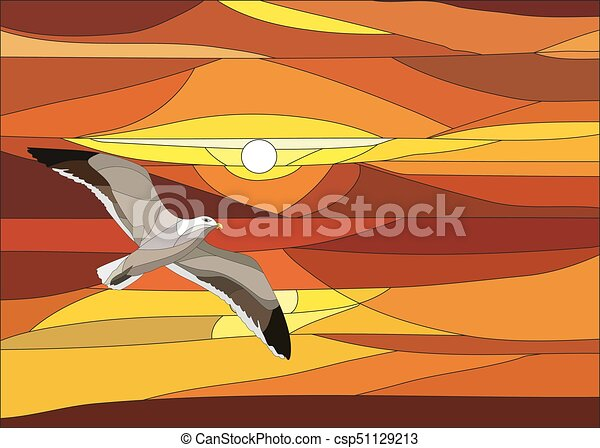 Vector illustration of sunset with clouds in stained glass window. - csp51129213