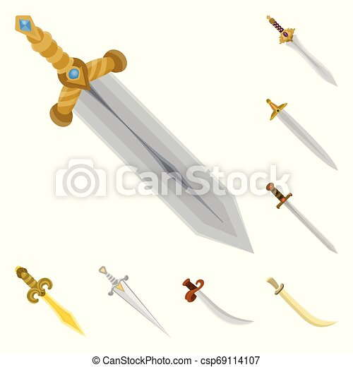 Vector illustration of sword and dagger sign. Collection of sword and weapon stock symbol for web. - csp69114107