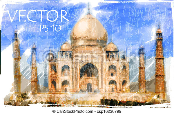 Vector Illustration of Taj Mahal, India - csp16230799