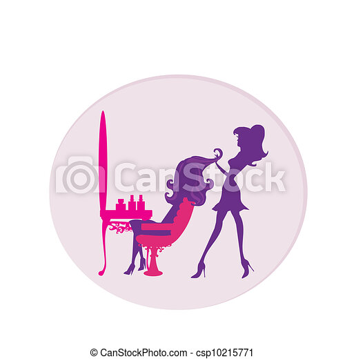 Vector illustration of the beautiful woman in hairdressing salon  - csp10215771