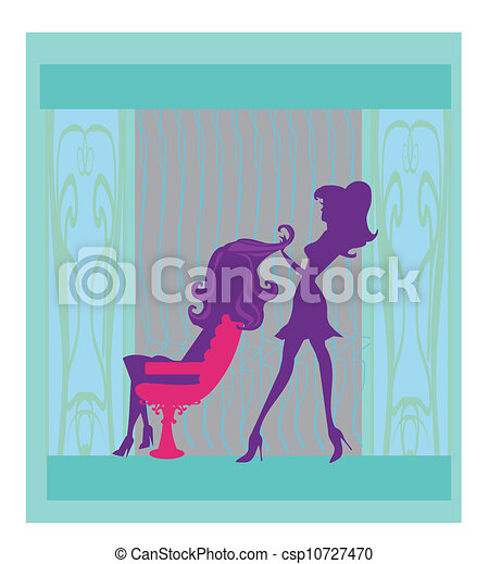 Vector illustration of the beautiful woman in hairdressing salon  - csp10727470