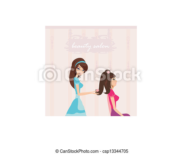 Vector illustration of the beautiful woman in hairdressing salon  - csp13344705