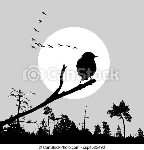 vector illustration of the bird on branch - csp4522490