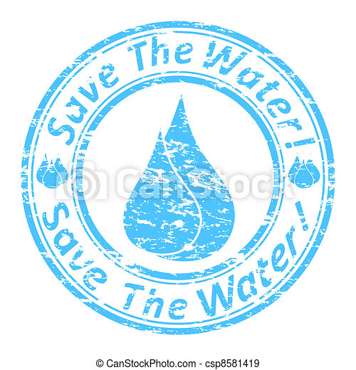 """Vector illustration of the blue grunge rubber stamp with the text  """"save the water!"""" written inside the stamp.  - csp8581419"""