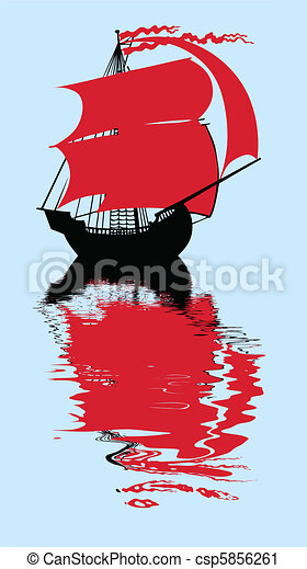 vector illustration of the sailfish with red sail - csp5856261
