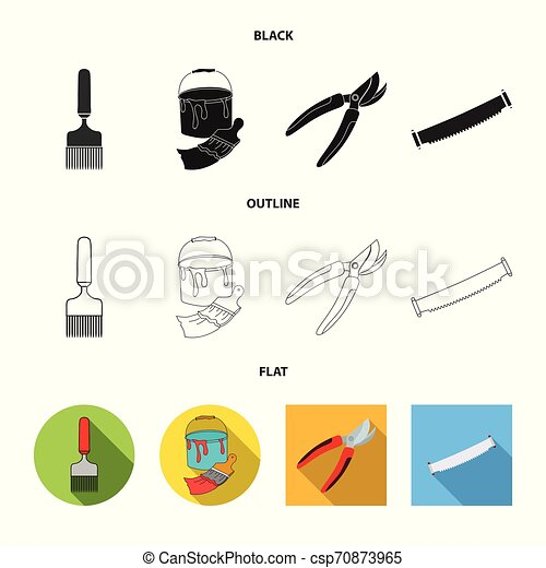 Vector illustration of tool and construction logo. Set of tool and carpentry stock vector illustration. - csp70873965