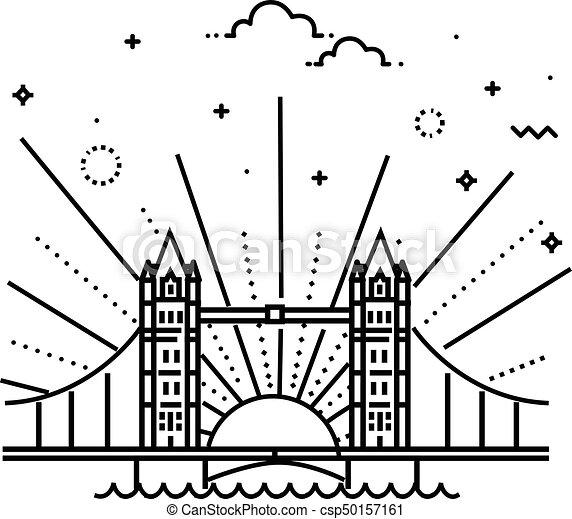 Vector Illustration Of Tower Bridge Icon Outline London Bridge