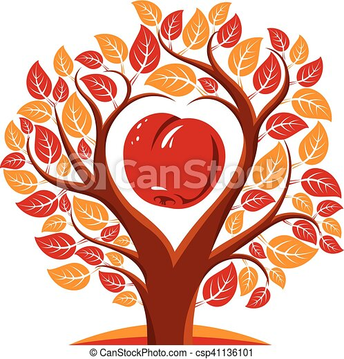 Vector illustration of tree with leaves and branches in the shape of heart  with an apple inside  Fruitfulness and fertility idea symbolic picture