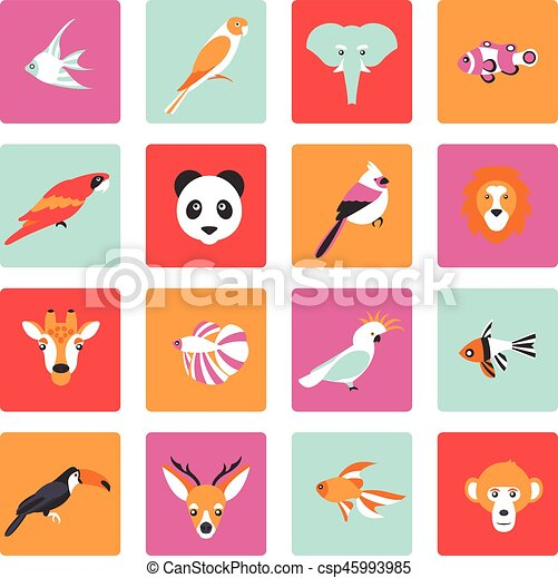 Vector illustration of tropical birds animals and fishes icon - csp45993985