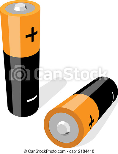Vector illustration of two AA-size batteries isolated on white - csp12184418