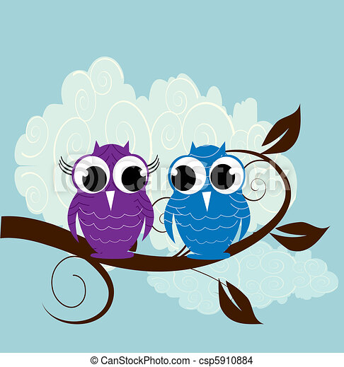 Vector illustration of two cute owl - csp5910884