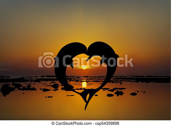 Vector Illustration Of Two Lovers Dolphins In Heart Shape At Sunset Or Sunrise Over Sea