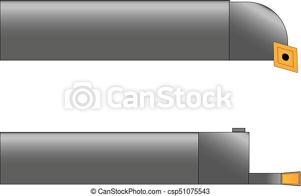 vector illustration of two metal cutters in gray with yellow cutting plates on a white background - csp51075543