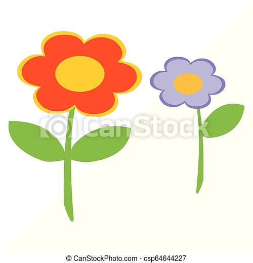 Vector Illustration Of Two Simple Flowers On White Background Basic Vector Drawing Of Two Flowers In Color Canstock