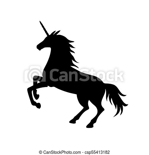 Vector Illustration Of Unicorn Silhouette Black Unicorn