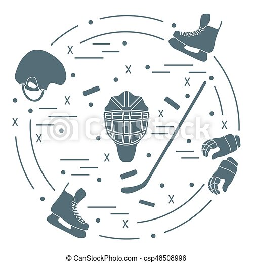 Vector illustration of various subjects for hockey. Including icons of helmet, gloves, skates, goalkeeper mask, hockey stick, puck. - csp48508996