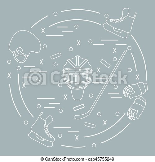 Vector illustration of various subjects for hockey arranged in a circle. - csp45755249