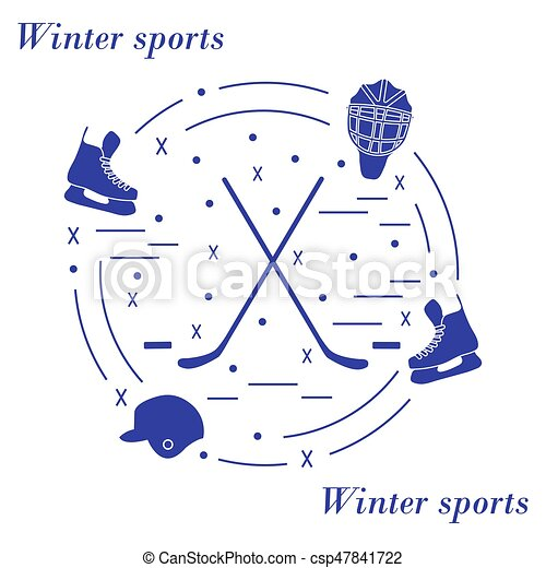 Vector illustration of various subjects for hockey arranged in a circle. - csp47841722