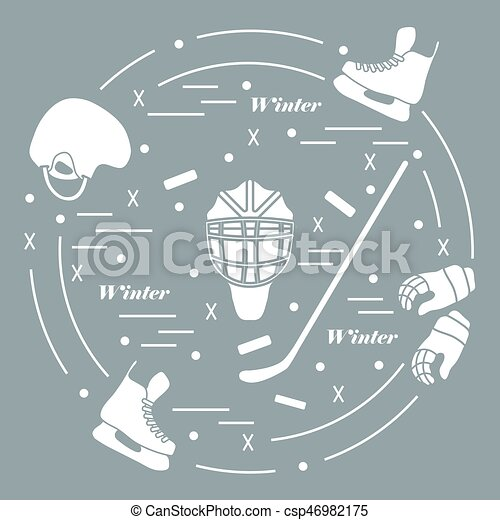 Vector illustration of various subjects for hockey. Including icons of helmet, gloves, skates, goalkeeper mask, hockey stick, puck. - csp46982175