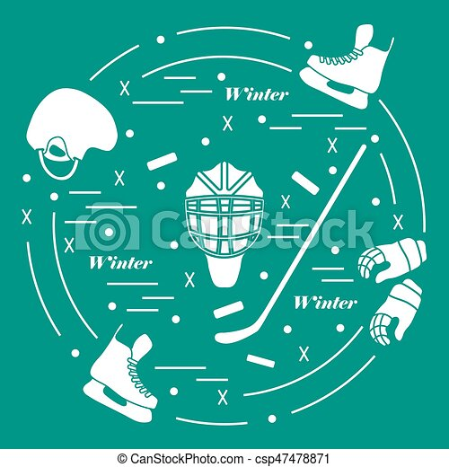 Vector illustration of various subjects for hockey. Including icons of helmet, gloves, skates, goalkeeper mask, hockey stick, puck. - csp47478871