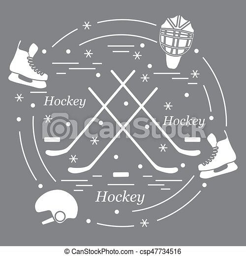 Vector illustration of various subjects for hockey arranged in a circle. - csp47734516