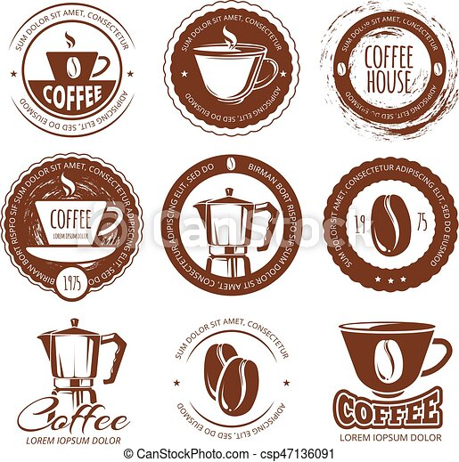 Vector illustration of vintage coffee labels and badges. Logo cafe - csp47136091