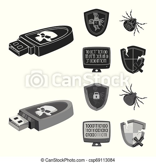 Vector illustration of virus and secure symbol. Set of virus and cyber stock vector illustration. - csp69113084