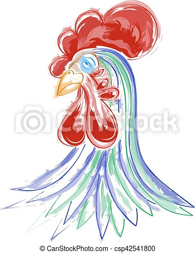 Vector illustration of watercolor rooster - csp42541800