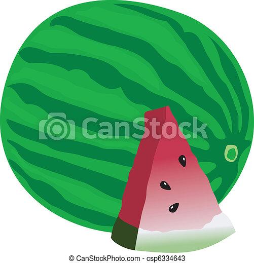 vector illustration of watermelon - csp6334643